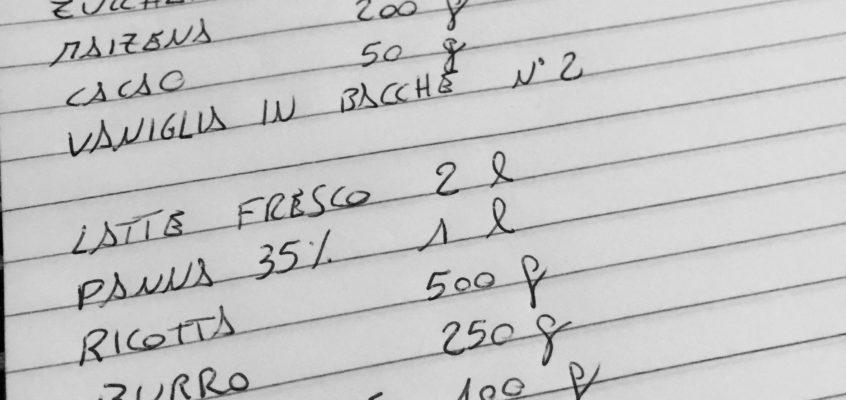 Come si prepara una lista della spesa in pasticceria