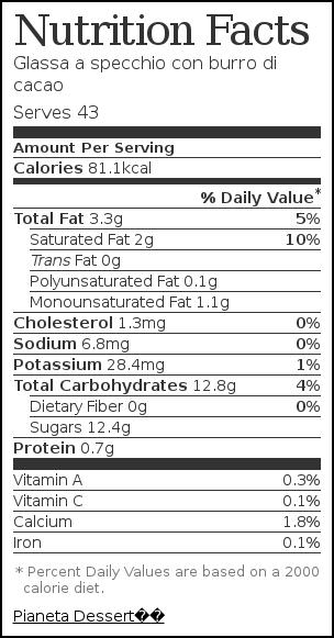 Etichetta nutrizionale per Glassa a specchio con burro di cacao