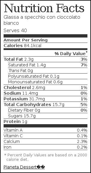 Etichetta nutrizionale per Glassa a specchio con cioccolato bianco