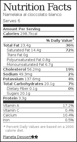 Etichetta nutrizionale per Namelaka al cioccolato bianco